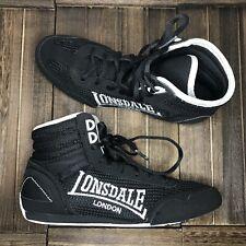 Lonsdale Londres Negro Alta Top contendiente chicos Boxeo Lucha Botas Talla Uk 4