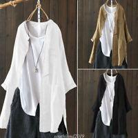 Fashion Women Linen Blend Button Shirt Long Sleeve Casual Plus Size Blouse Tops