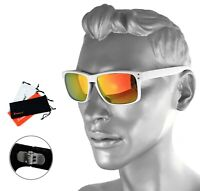 Rennec Herren Sonnenbrille Orange Verspiegelt Weiß Doppelgelenke Nerd R14W Etui