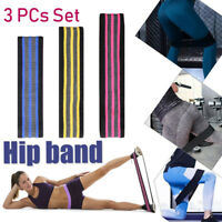 3PC Set Hip Band Elastic Resistance Loop Bands Yoga Exercise Gym Fitness Stretch