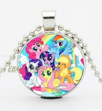My Little Pony hotchpotch Cabochon Glass Tibet Silver Chain Pendant Necklace E66