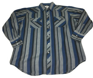 Diamond Ranchwear Mens Western Campdraft Pearl Snap LS Shirt Size XL 17 1/2