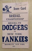 1955 World Series Scorecard Game 5 Brooklyn Dodgers vs New York Yankees