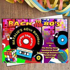10 Personalised 80s Eighties Fancy Dress Birthday Party Invitations N179