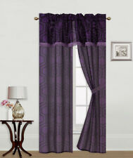5PC SET PRINTED WINDOW CURTAINS WITH ATTACHED VALANCE AND TIE BACK DRAPES R2