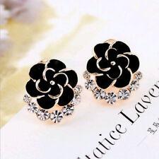 Black Women's Gold Plated Crystal Alloy Rhinestones Flower Ear Stud Earrings
