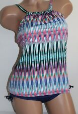 24th & Ocean Small Ikat Print Hi Neck Tankini 2 Piece Swimsuit Set NEW
