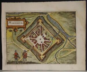 MARIEMBOURG BELGIUM 1613 GUICCIARDINI UNUSUAL ANTIQUE COPPER ENGRAVED CITY VIEW