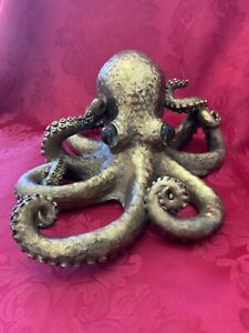 """NEW FLAWLESS Exquisite NAUTICAL HUGE Gold OCTOPUS Sculpture 12""""Figure Glass EYES"""