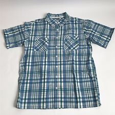 Alpine Design Blue Plaid Short Sleeve Button Shirt Men's L XL Slim No Tag