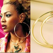 "3 1/2"" ~90mm Gold Plated HUGE HOOP Circle Round Hollywood Celebrity Earrings New"