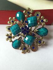 New Bohemian Resin Blue Rhinestone vintage Blue flower Bronze leaves brooch