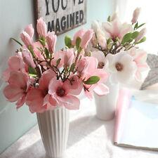 Artificial Fake Flowers Leaf Magnolia Floral Wedding Bouquet Party Home Decor UK