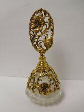 Vintage Matson Dogwood Gold Tone Filigree Ormolu Vanity Perfume Bottle Dauber
