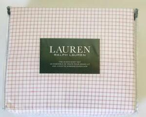 RALPH LAUREN QUEEN 4 PIECE SHEET SET YELLOW STRIPES CHECKS 100% COTTON HOME