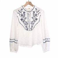 NWOT Free People Sundance Kid Western Henley Top Sz XS White Blue Embroidered