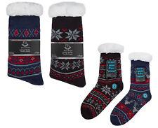 Matching Mens Boys Fairisle Lounge Slipper Socks Fleece Lined Gripper Socks Gift