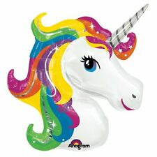 "Supershape 33"" Unicorn Head Foil Rainbow Balloon Birthday Party Decoration"
