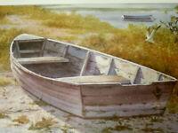 "VTG 70's LI Artist ALICE KETTELHACK WATERCOLOR PRINT BOAT BAY 17""x11"""
