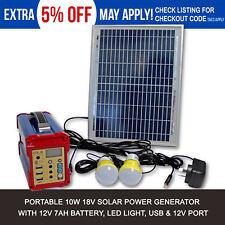 10w Solar Power Panel Generator LED Light USB Charger Storage Home System Kit