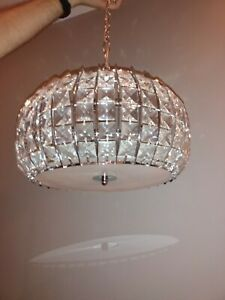 Glamorous 2-light crystal chandelier light with diffuser - used