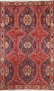 Vintage Geometric Traditional Oriental Area Rug Wool Hand-Knotted Carpet 6x9 ft