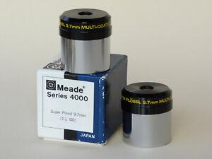 "MEADE Eyepiece Pair (2x) Super Plössl 9.7mm 1.25"" Smoothie Series 4000 JAPAN"