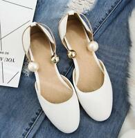 Ladies Pearls Mary Janes Round Toe Shoes Summer Flat Bridal Sandals Plus Size TE