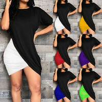 Women Short Sleeve Crew Neck Wrap Dress Bodycon Summer Club Slim Party Dresses