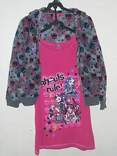 Monster High Girls 2 Piece Jacket & Dress Top Size 10-12 Gray Pink Skulls NEW