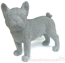 More details for x large 32cm silver glittery glitzy diamante french bulldog frenchie lover gift