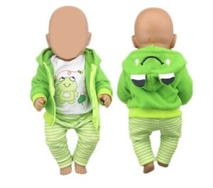 Puppenkleidung Set 3tlg. Outfit T-Shirt Hose Jacke für Baby Puppe 40 - 43 cm