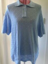 VINTAGE Top 16- 18 Cotton knit lacy pattern collar Baby blue short sleeves
