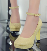 Women High Block Heel Ankle Strap Platform Sexy Summer Elegant Party Pumps Heels