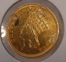 1854 $3.00 Indian Princess Gold, Ex Jewelry Piece AU Details