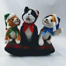 Vtg Gemmy Animated Singing Christmas Cats Kittens Plush Carol of the Bells Video