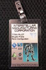 Titanfall 2 ID Badge -IMC TITAN PILOT Stryder Frame  prop cosplay costume