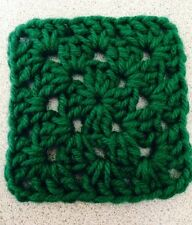 "20 4"" KELLY GREEN Hand Crocheted GRANNY SQUARES Afghan Blanket Blocks PIXEL"