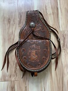 Maker Hayles Cripple Creek Saddle Bag Brown Tooled Leather Silver Stud Concho
