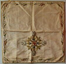 VOILE de calice ancien XIXe Linge d'autel brodé fil or fleurs de Lys Liturgie