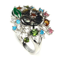 Unheated Oval Multi-color Tourmaline 4x3mm Mop Cz Gems 925 Sterling Silver Ring