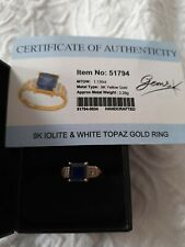 9ct Yellow Gold Iolite and White Topaz Ring
