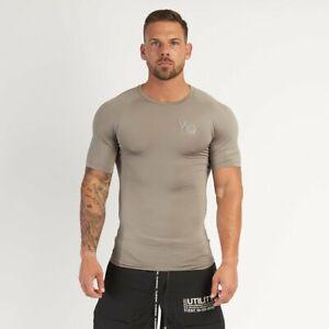 VANQUISH Fitness 'VQ Utility Compression' Muscle Stretch T-Shirt Khaki Small NWT