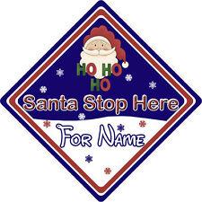 Personalizzata Babbo Natale Stop Qui Firmare finestra ~ Babbo Natale Ho Ho Ho ~ Blu
