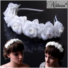 Hairband Communion Bride Roses White Rhinestones Flower Girl Wedding H5150