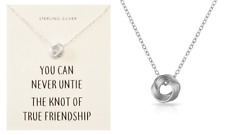 Sterling Silver Friendship Knot Necklace with Quote Display Card