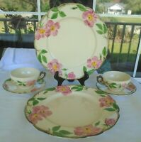 Set of 6 Pieces Franciscan Desert Rose Earthenware Dinner Plates Cups & Saucers