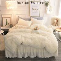 Luxury Plush Shaggy Duvet Cover Set Pompoms Fringe Ruffles Bedskirt  Bedding Set
