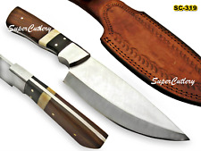 Custom Handmade D-2 STEEL Knife Buffalo Horn Steel Bolster Bone Rosewood Handle