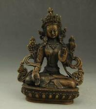 China Tibet hand-carved old copper guanyin bodhisattva,